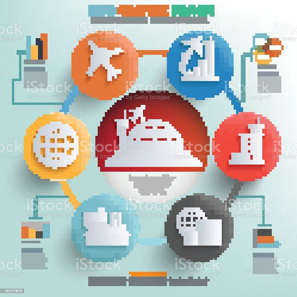 Airport,logistic concept info graphic design,clean vector vector art illustration
