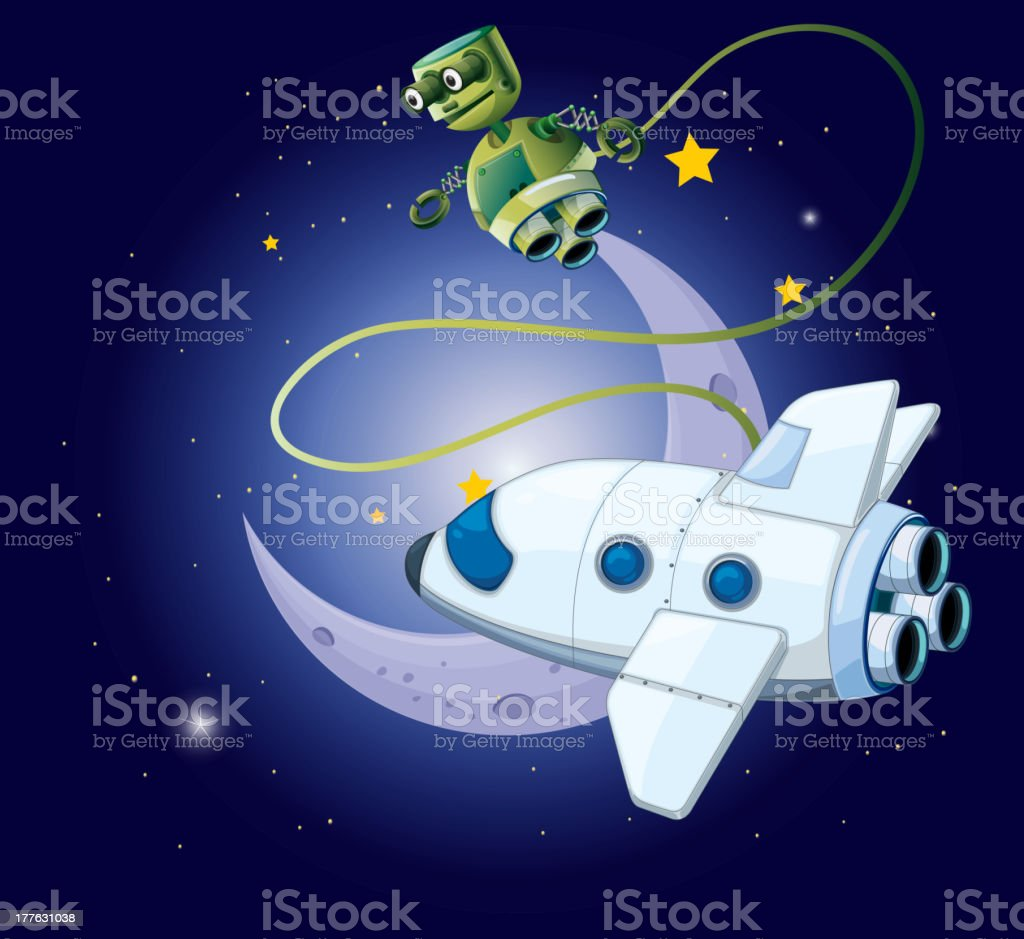 airship and a robot in the outerspace royalty-free stock vector art