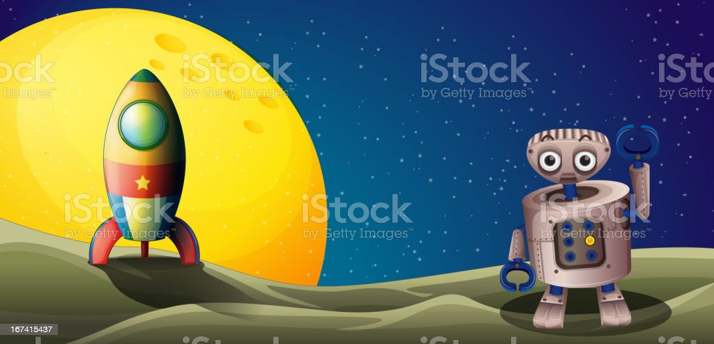 Airship near the moon with a robot royalty-free stock vector art