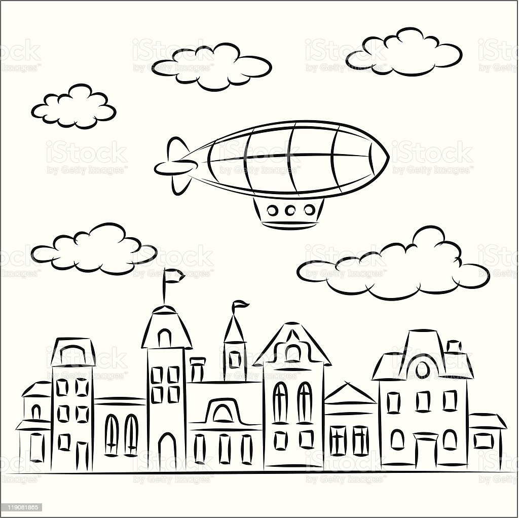 airship over the old town royalty-free stock vector art