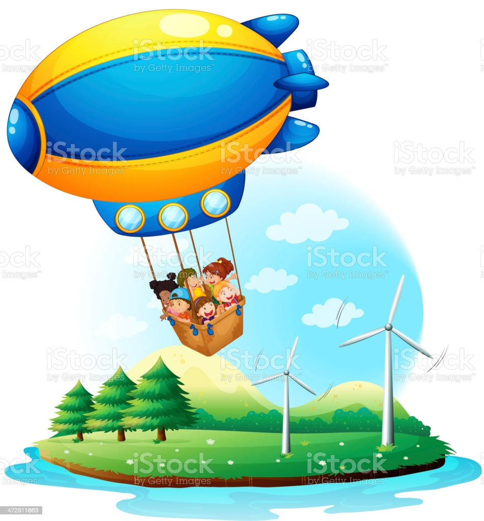 Airship with kids passing over an island royalty-free stock vector art