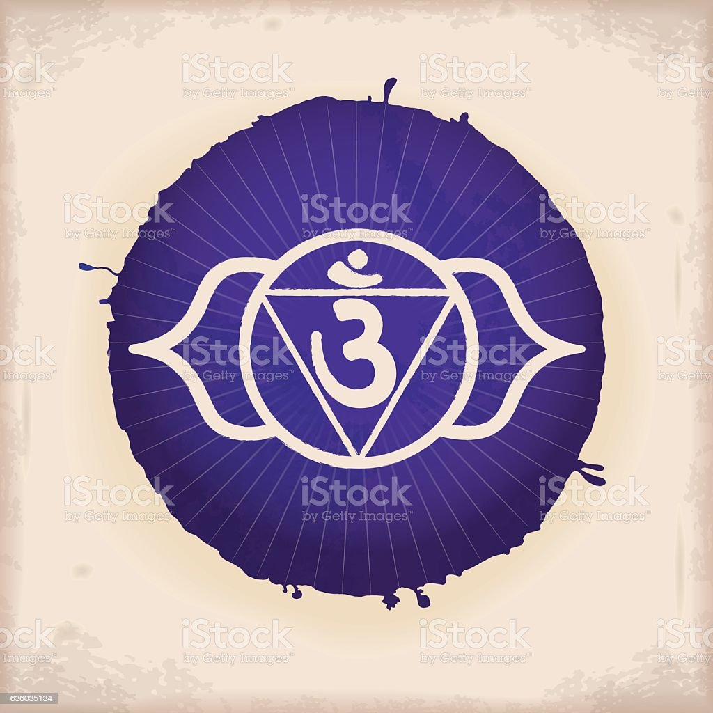 Ajna - Vintage Watercolour Chakra Symbol 6 vector art illustration