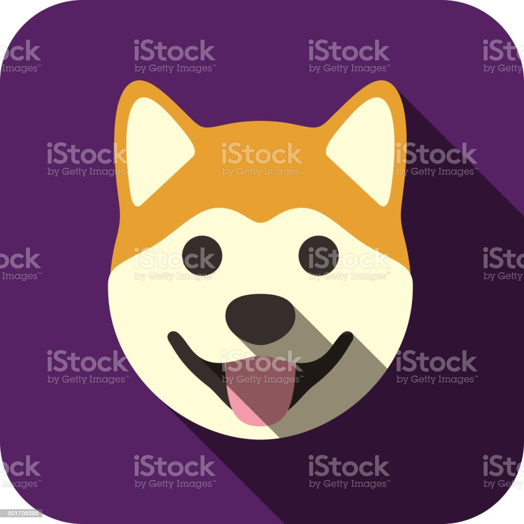 Akita animal face icon vector art illustration