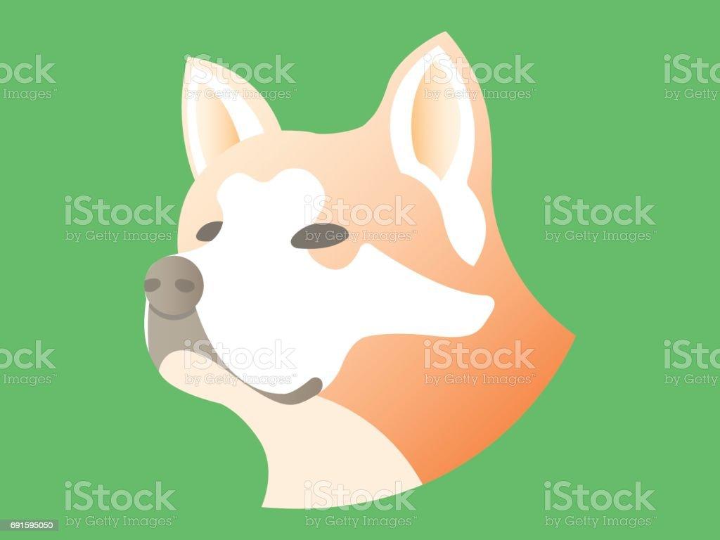 Akita inu breed dog icon vector art illustration