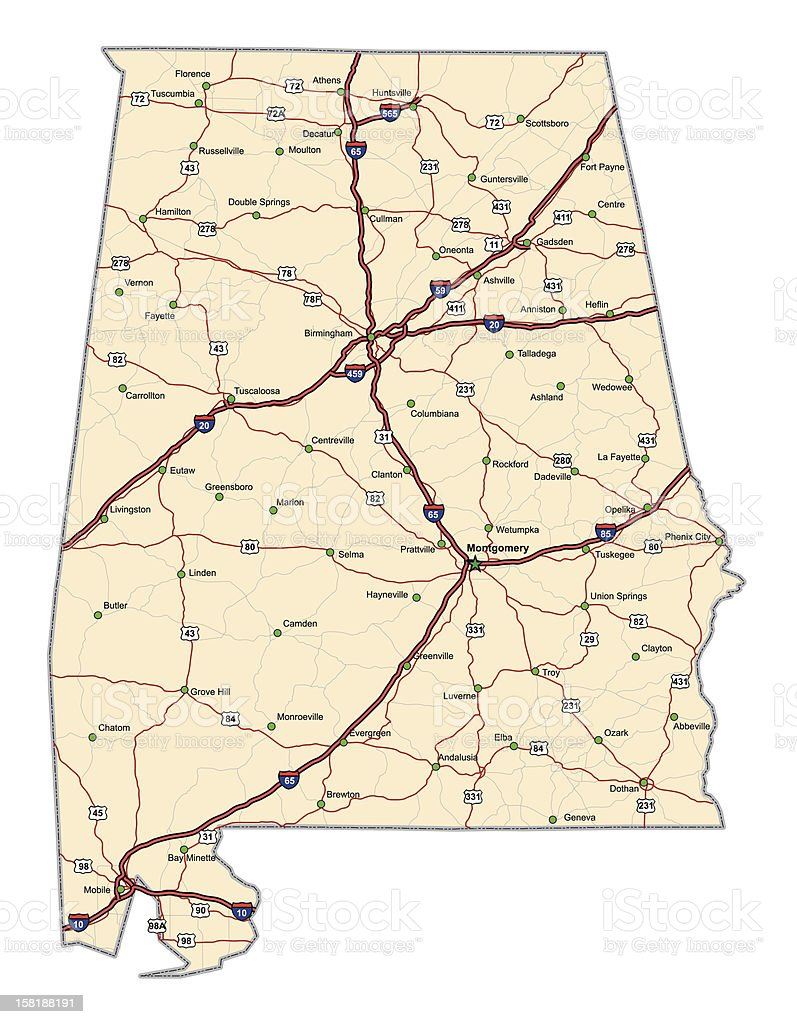 Alabama Highway Map vector art illustration