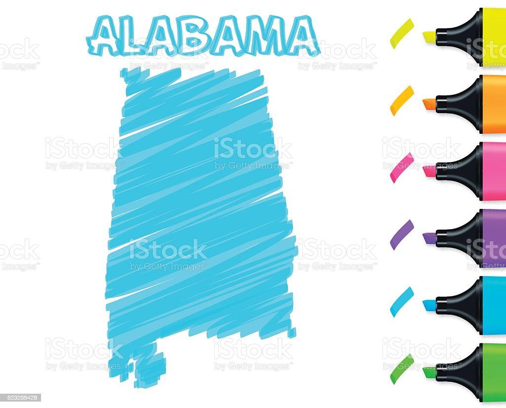 Alabama map hand drawn on white background, blue highlighter vector art illustration