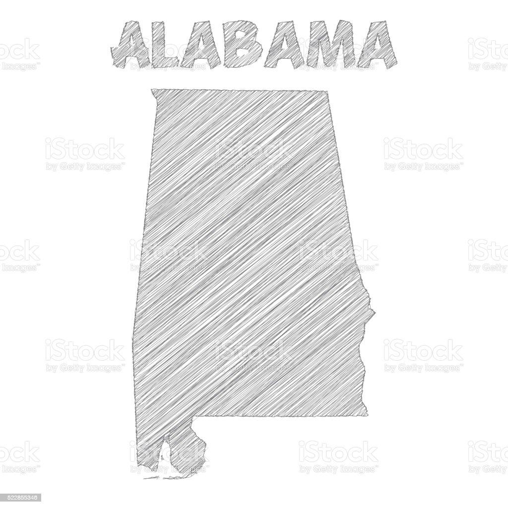Alabama map hand drawn on white background vector art illustration