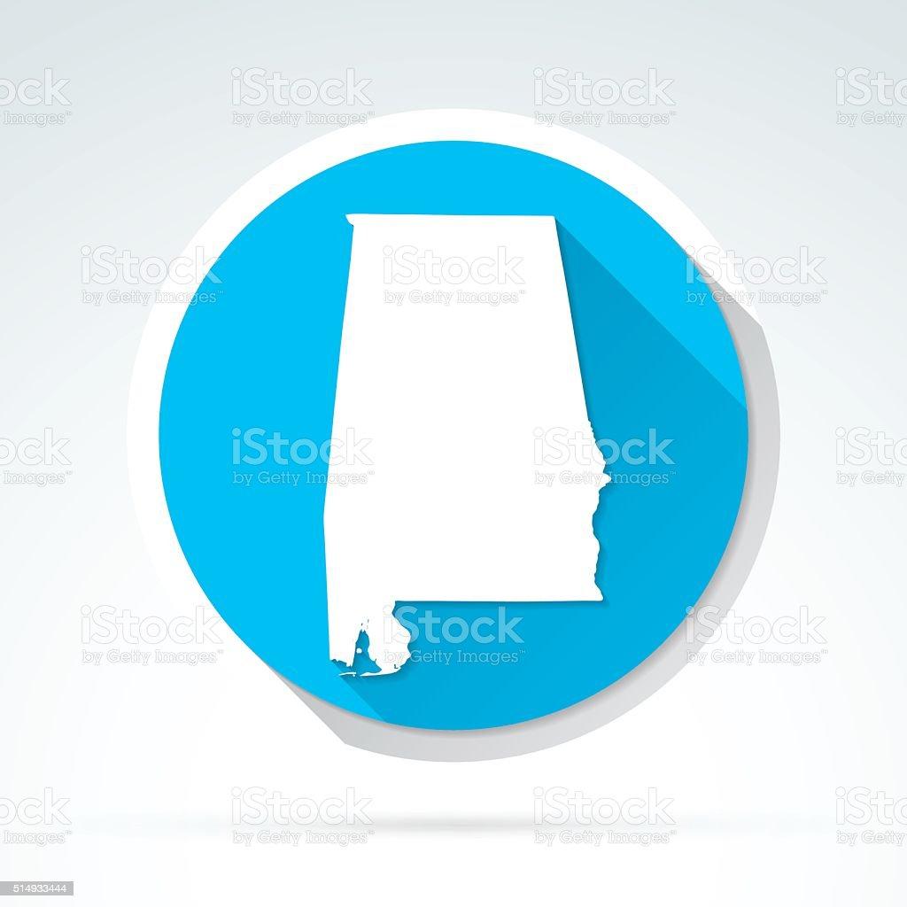 Alabama map icon, Flat Design, Long Shadow vector art illustration