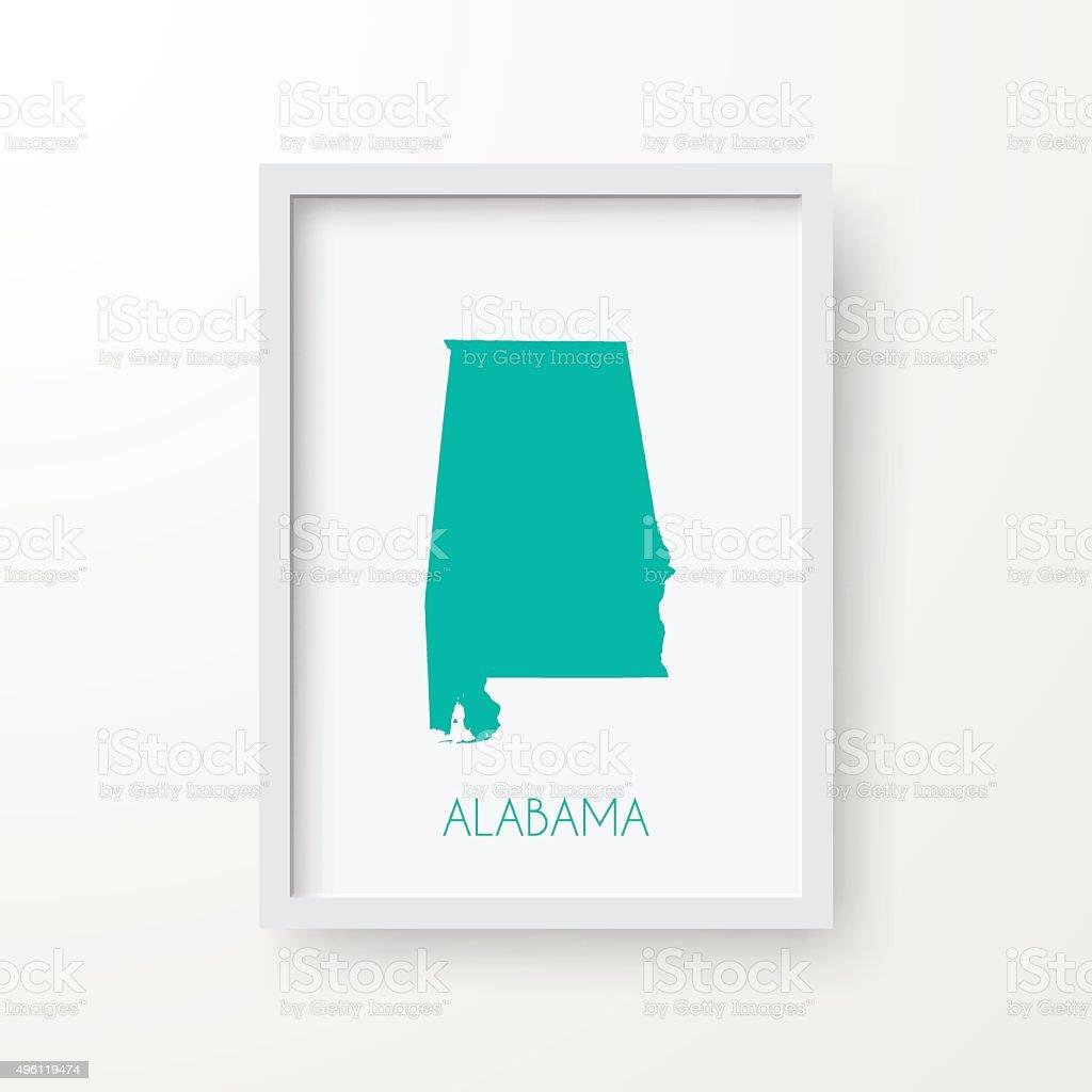 Alabama Map in Frame on White Background vector art illustration