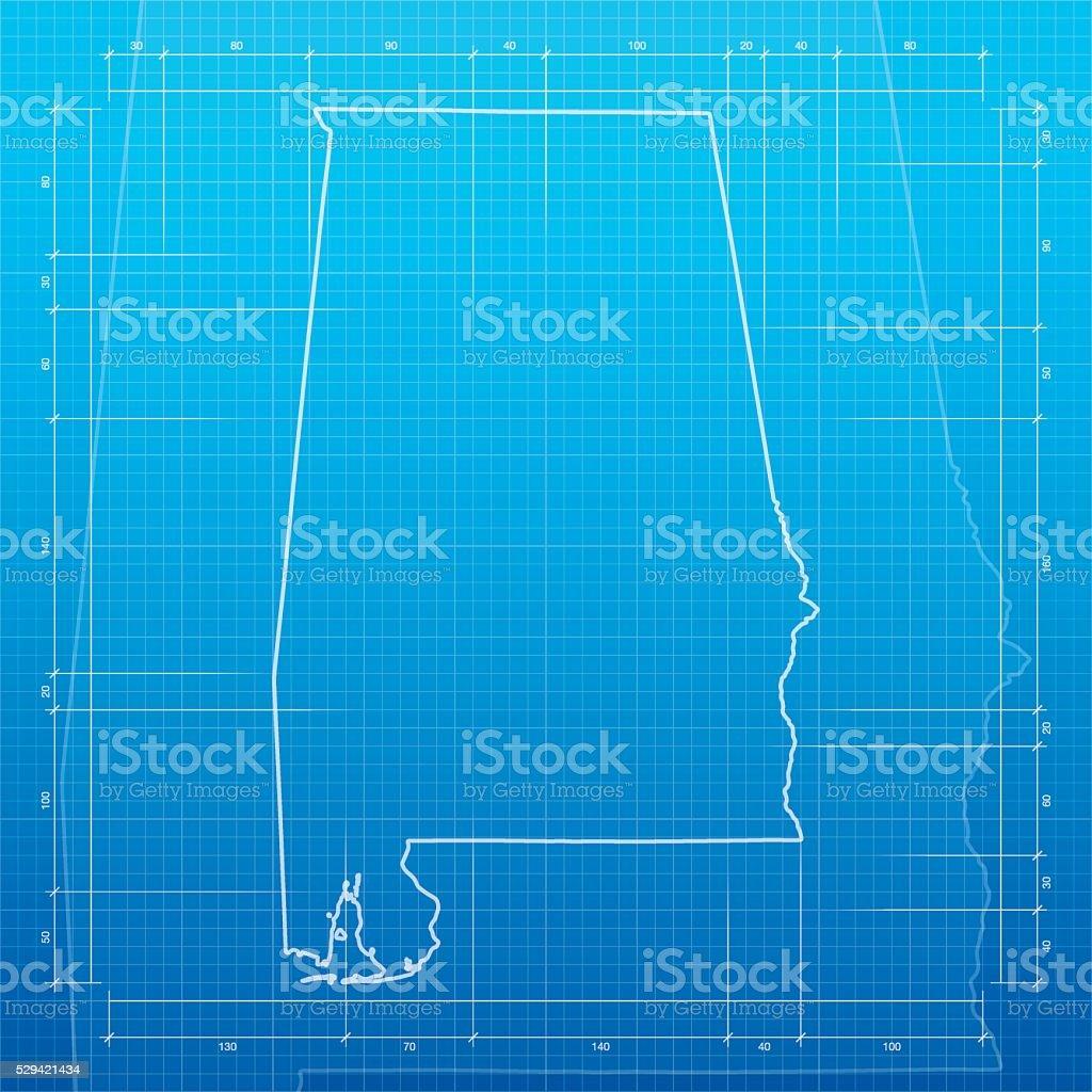 Alabama  map on blueprint background vector art illustration