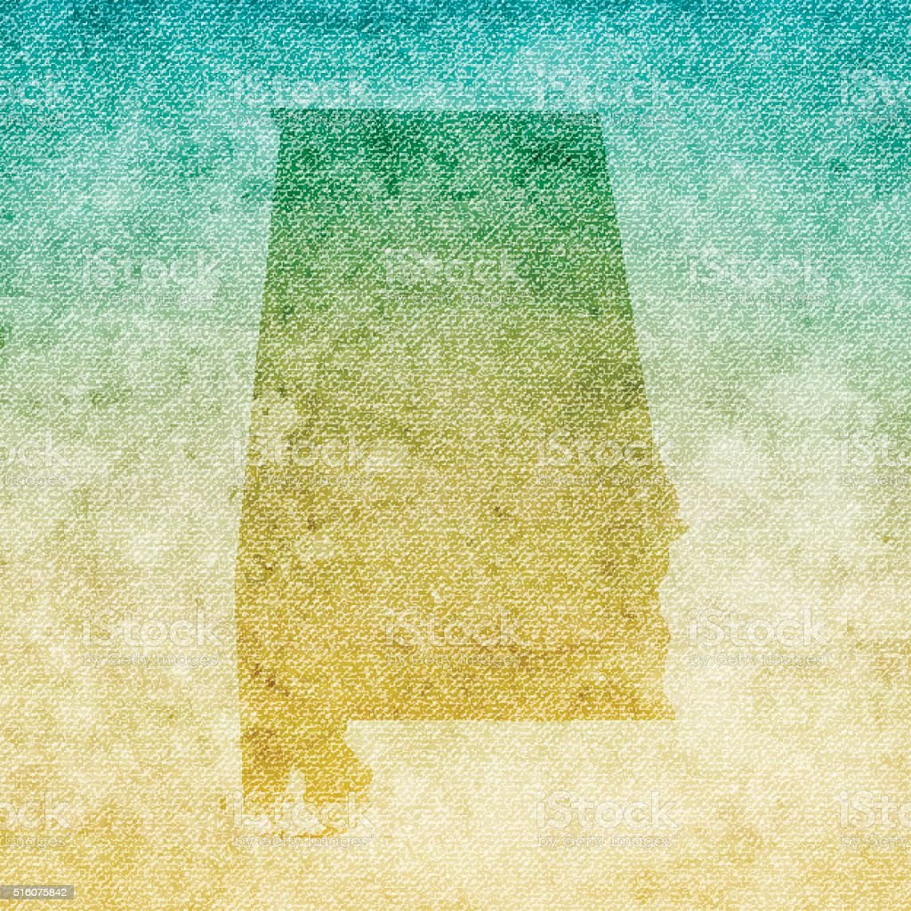 Alabama Map on grunge Canvas Background vector art illustration