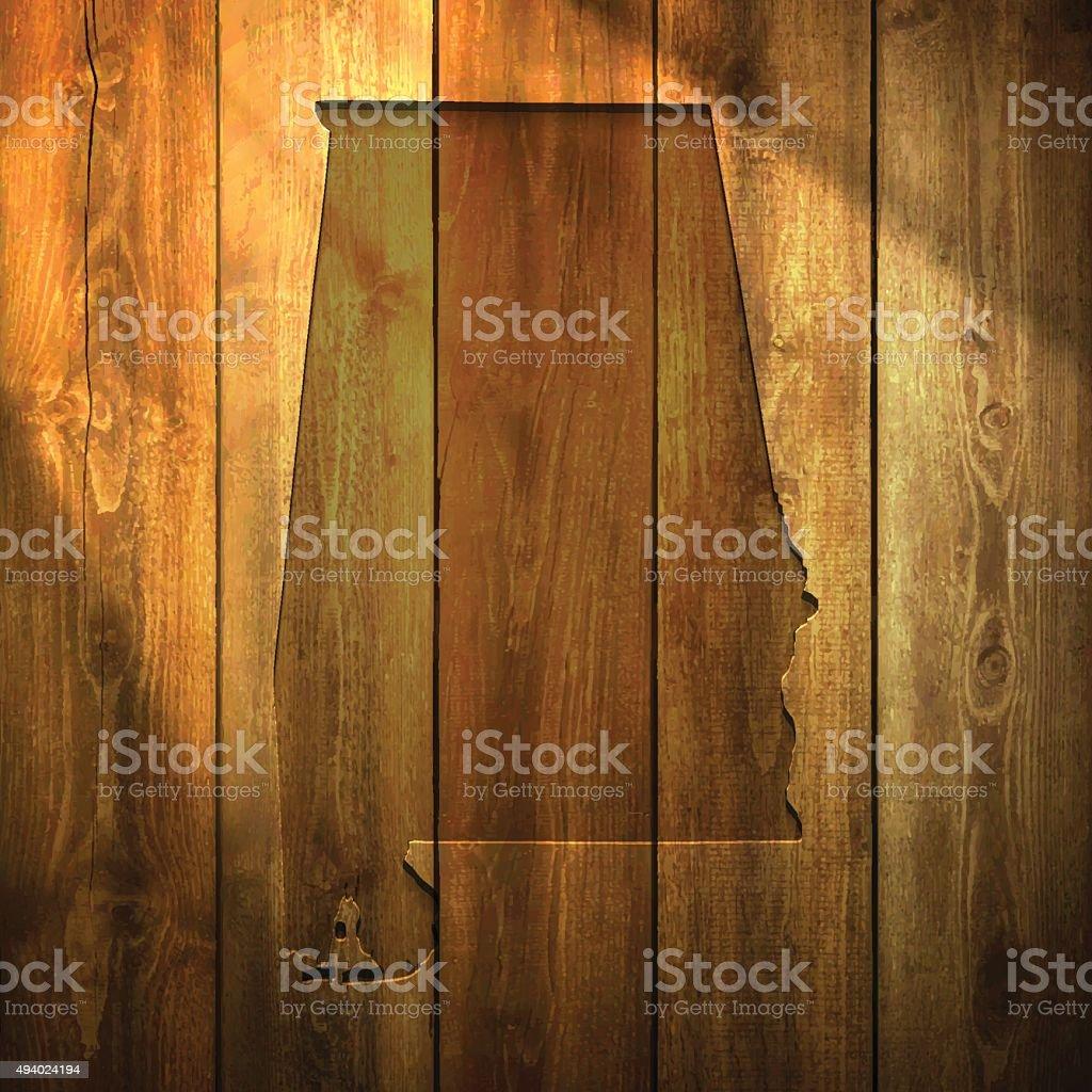 Alabama Map on lit Wooden Background vector art illustration