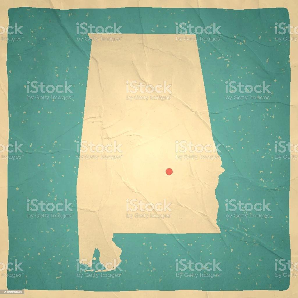 Alabama Map on old paper - vintage texture vector art illustration