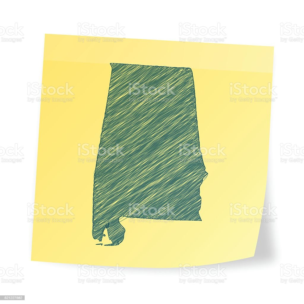 Alabama map on sticky note with scribble effect vector art illustration