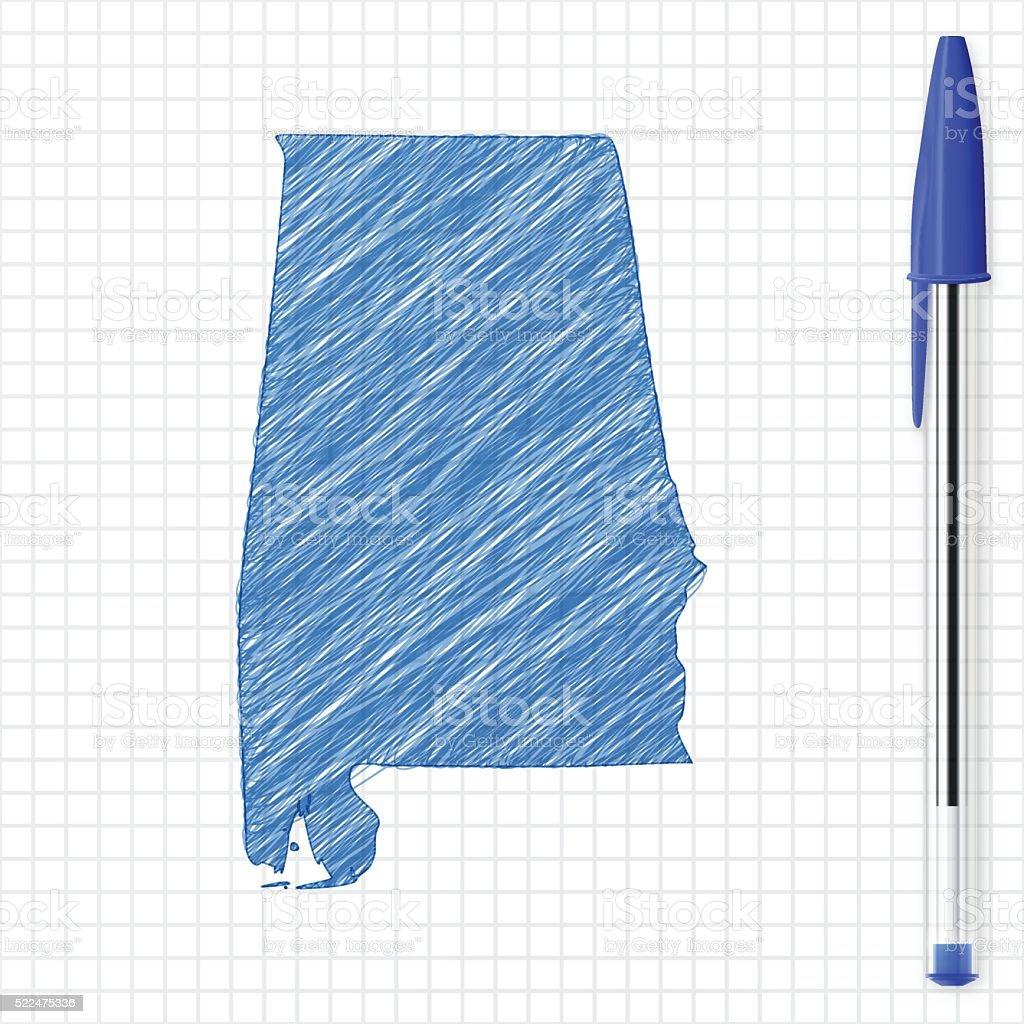 Alabama map sketch on grid paper, blue pen vector art illustration