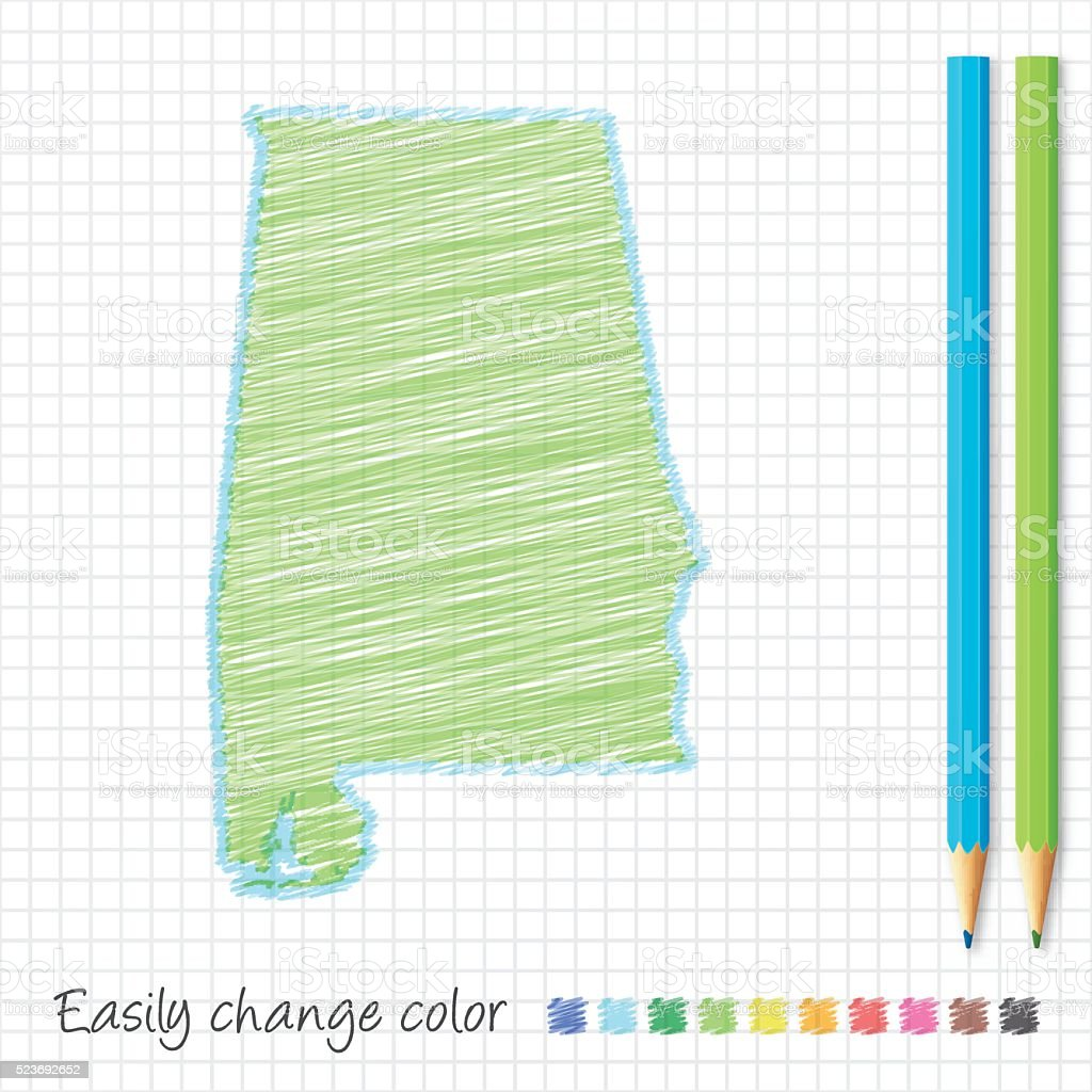 Alabama map sketch with color pencils, on grid paper vector art illustration