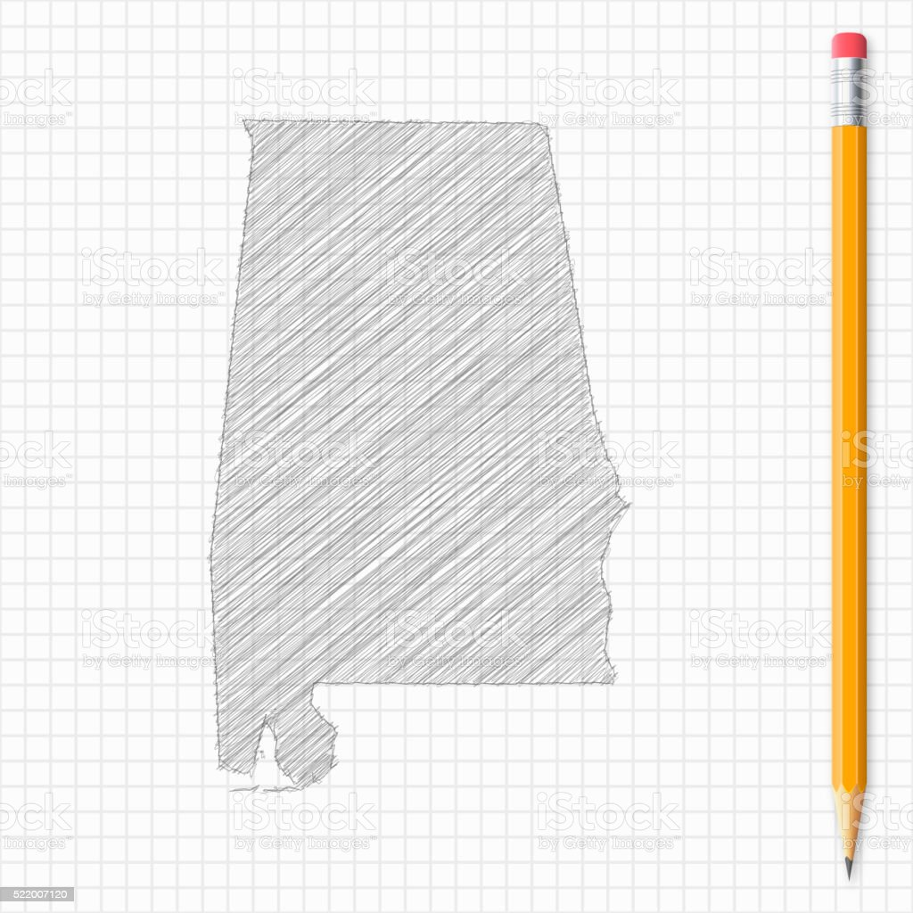 Alabama map sketch with pencil on grid paper vector art illustration