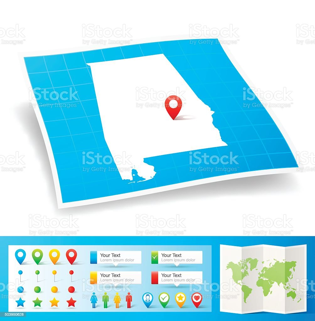 Alabama Map with location pins isolated on white Background vector art illustration