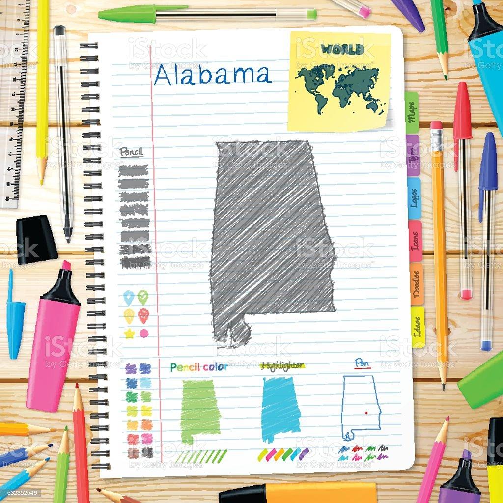 Alabama maps hand drawn on notebook. Wooden Background vector art illustration