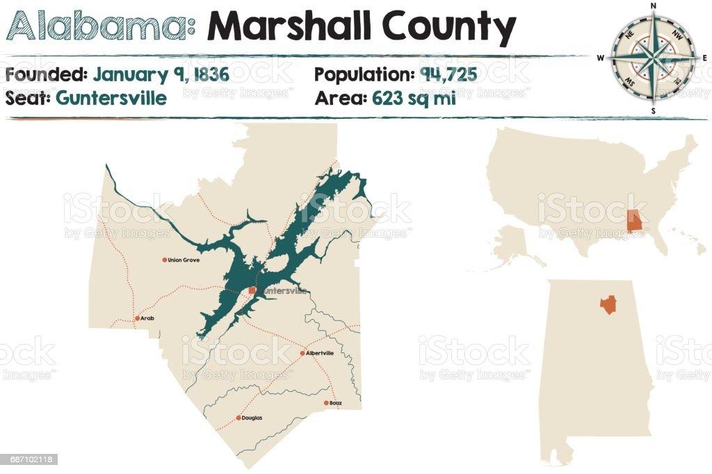 Alabama: Marshall county map vector art illustration