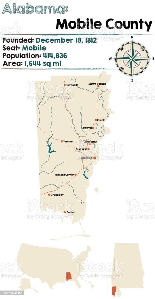 Alabama: Mobile county map vector art illustration