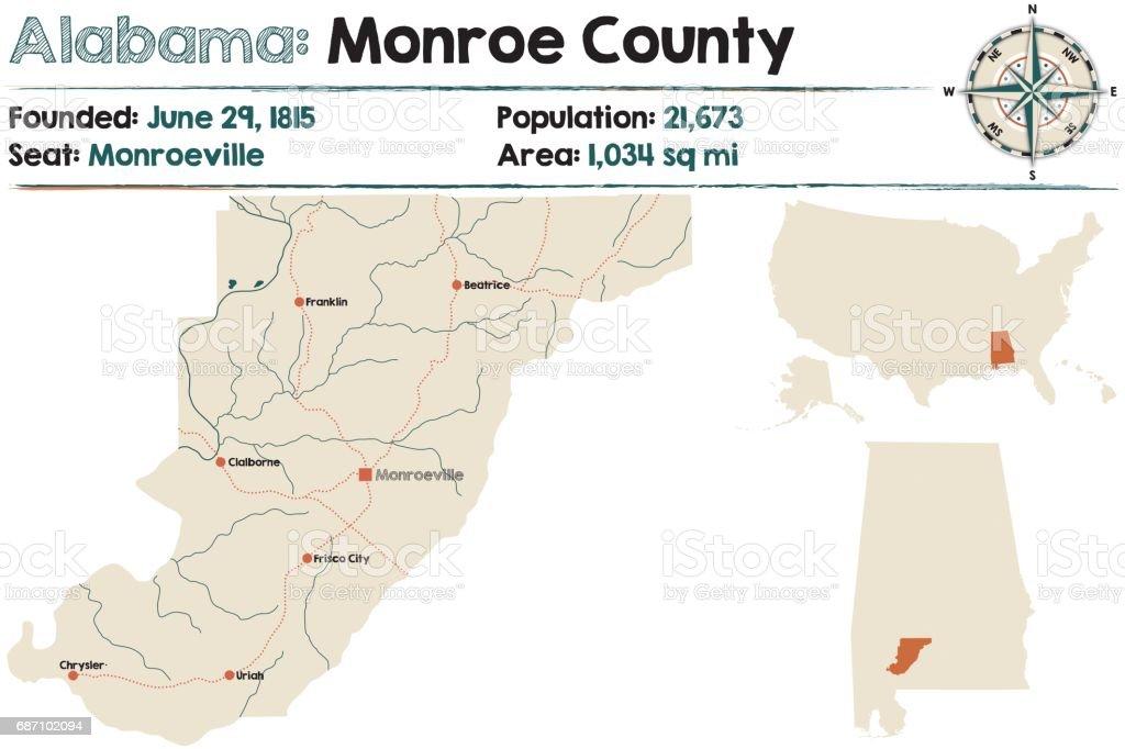 Alabama: Monroe county vector art illustration