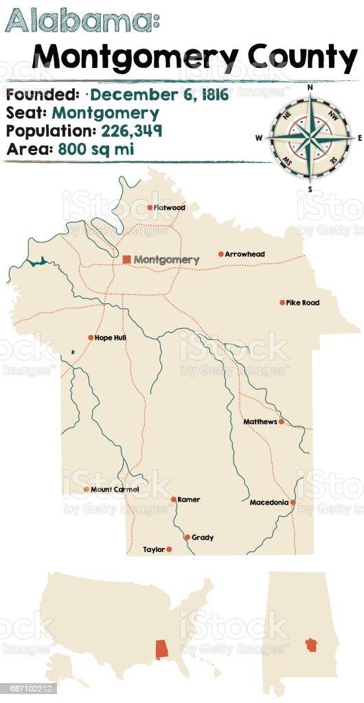 Alabama: Montgomery county map vector art illustration