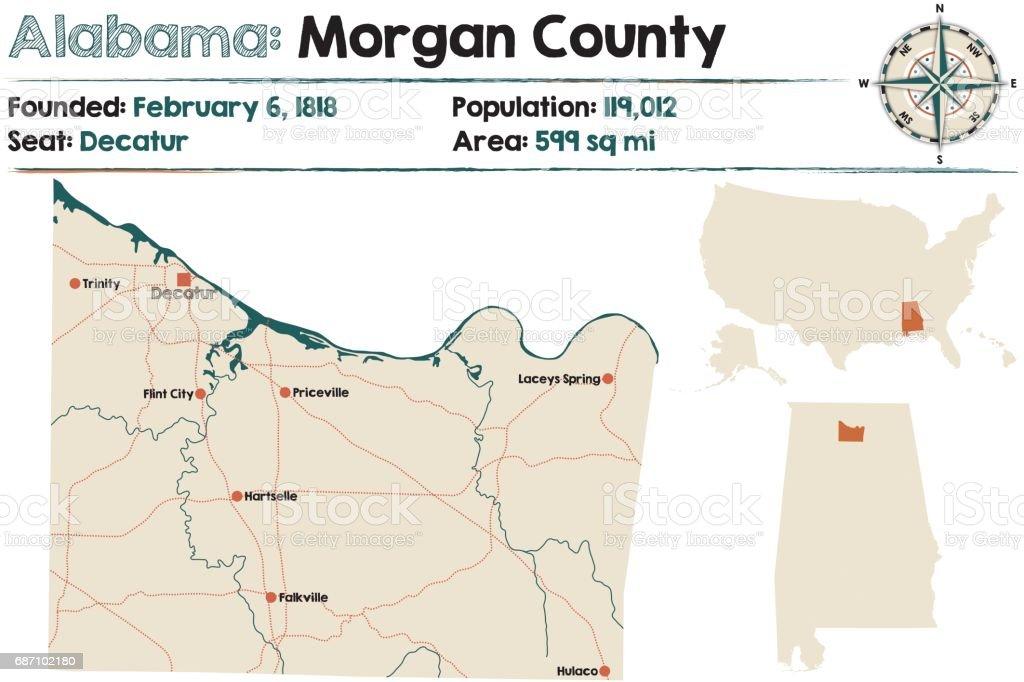 Alabama: Morgan county map vector art illustration