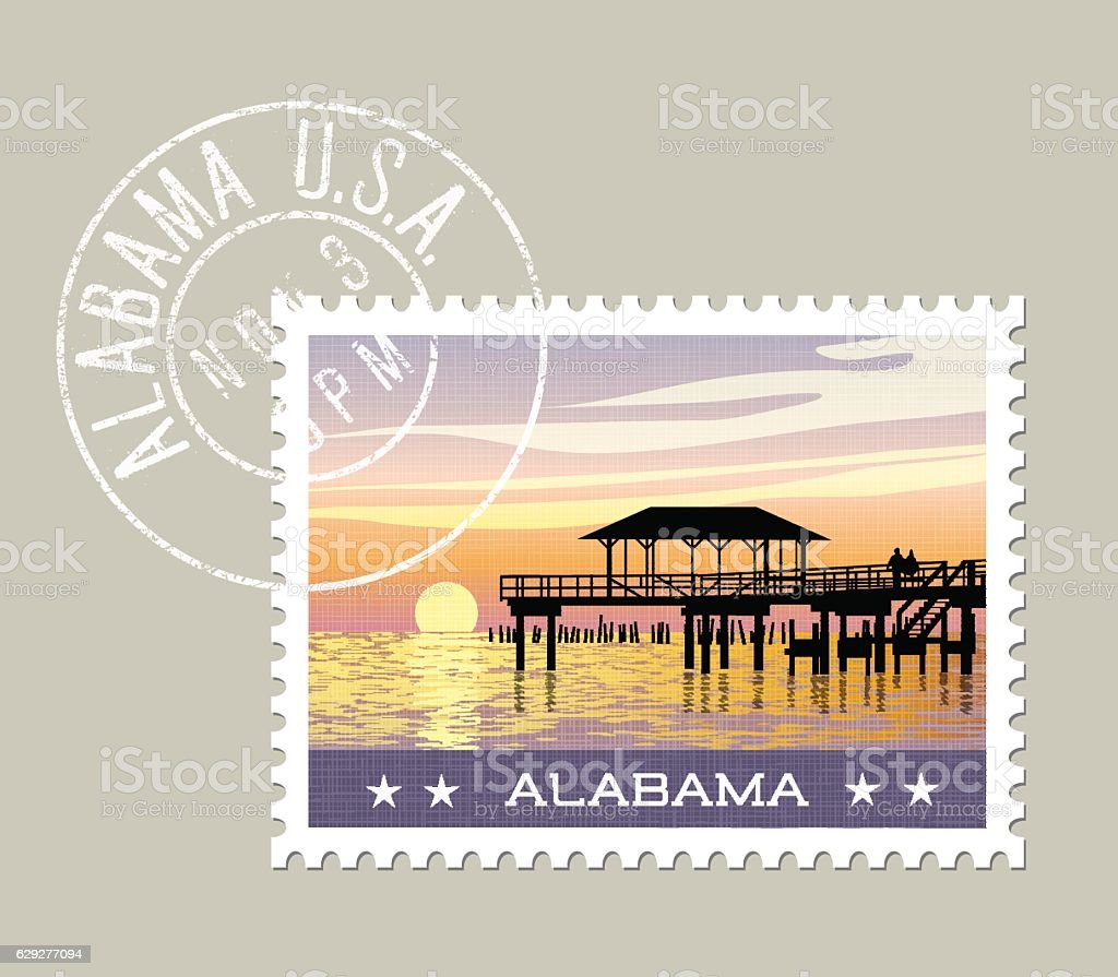 Alabama postage stamp featuring gulf coast with fishing pier. vector art illustration