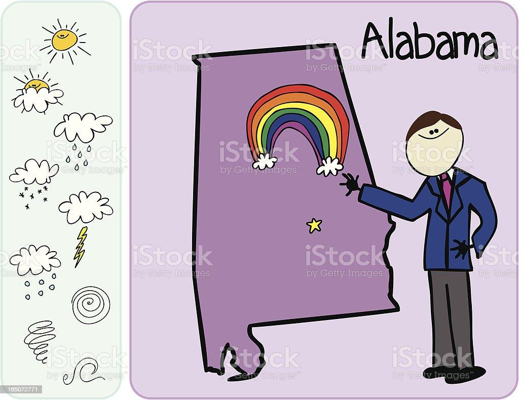 Alabama Weather Man royalty-free stock vector art
