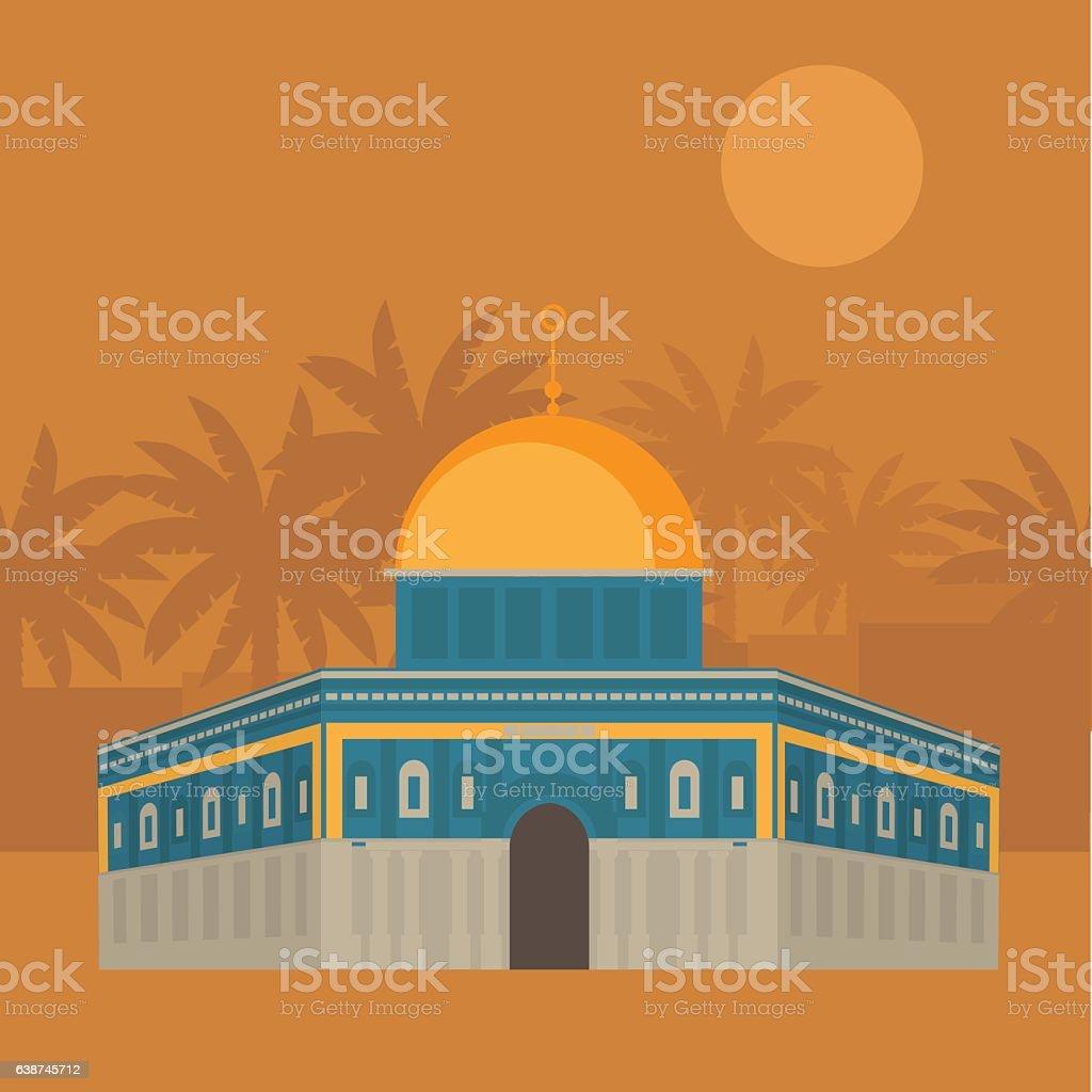 Al-Aqsa Mosque in Jerusalem, Israel. Dome of the rock. vector art illustration