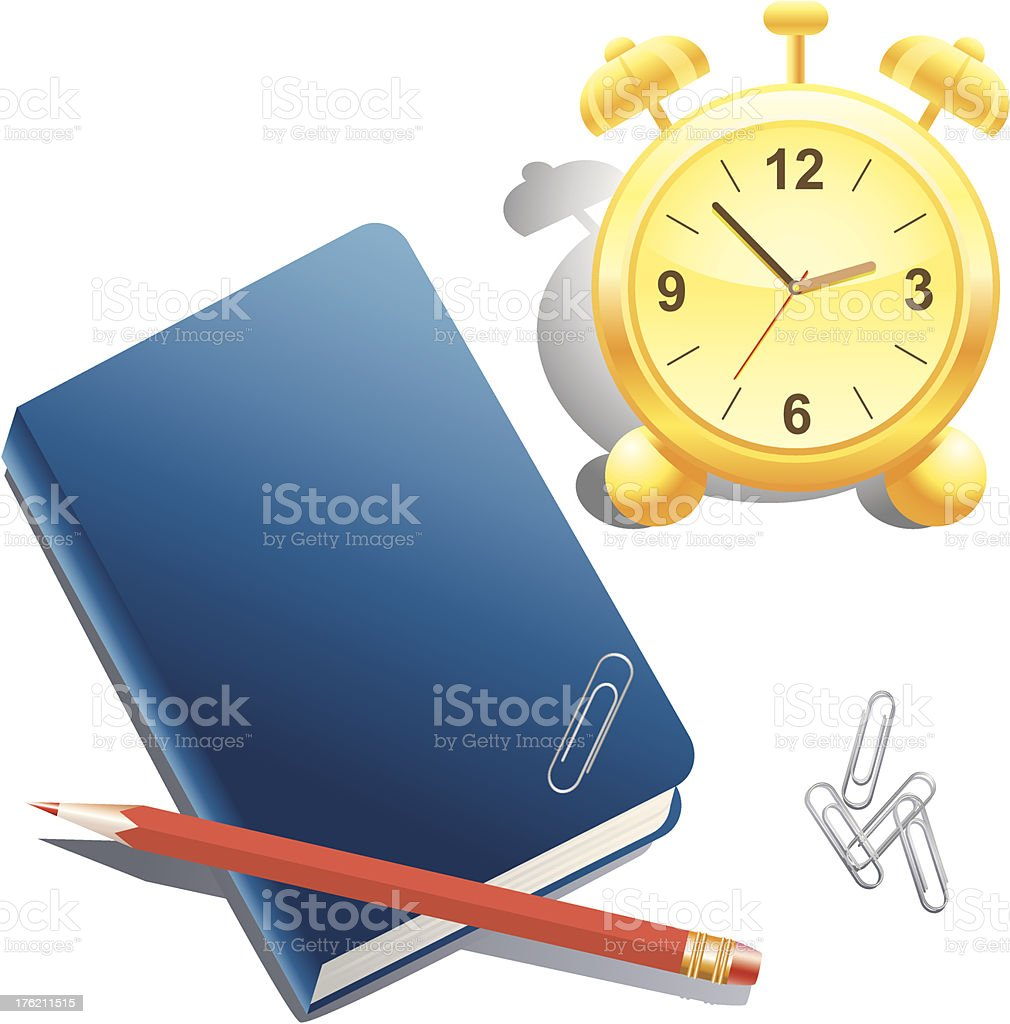 Alarm clock, book, pencil and paper clip royalty-free stock vector art