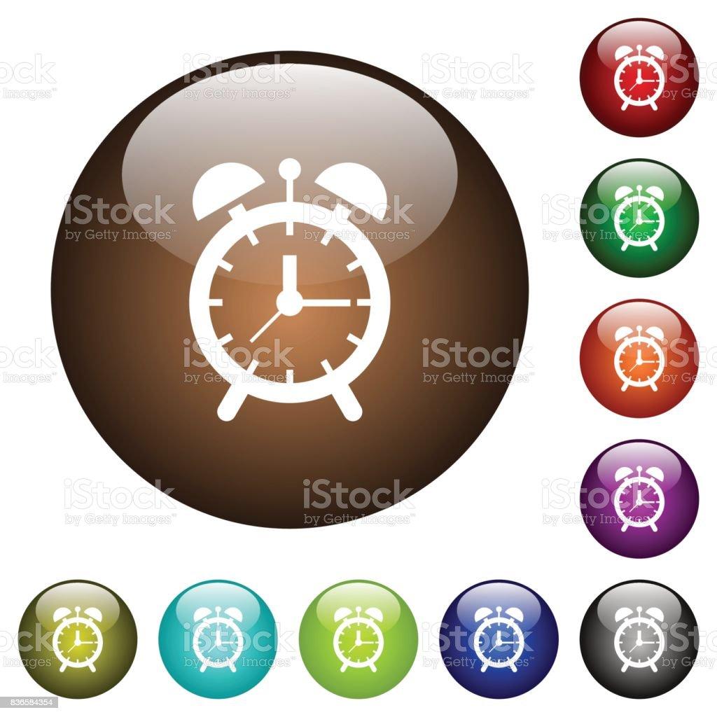 Alarm clock color glass buttons vector art illustration