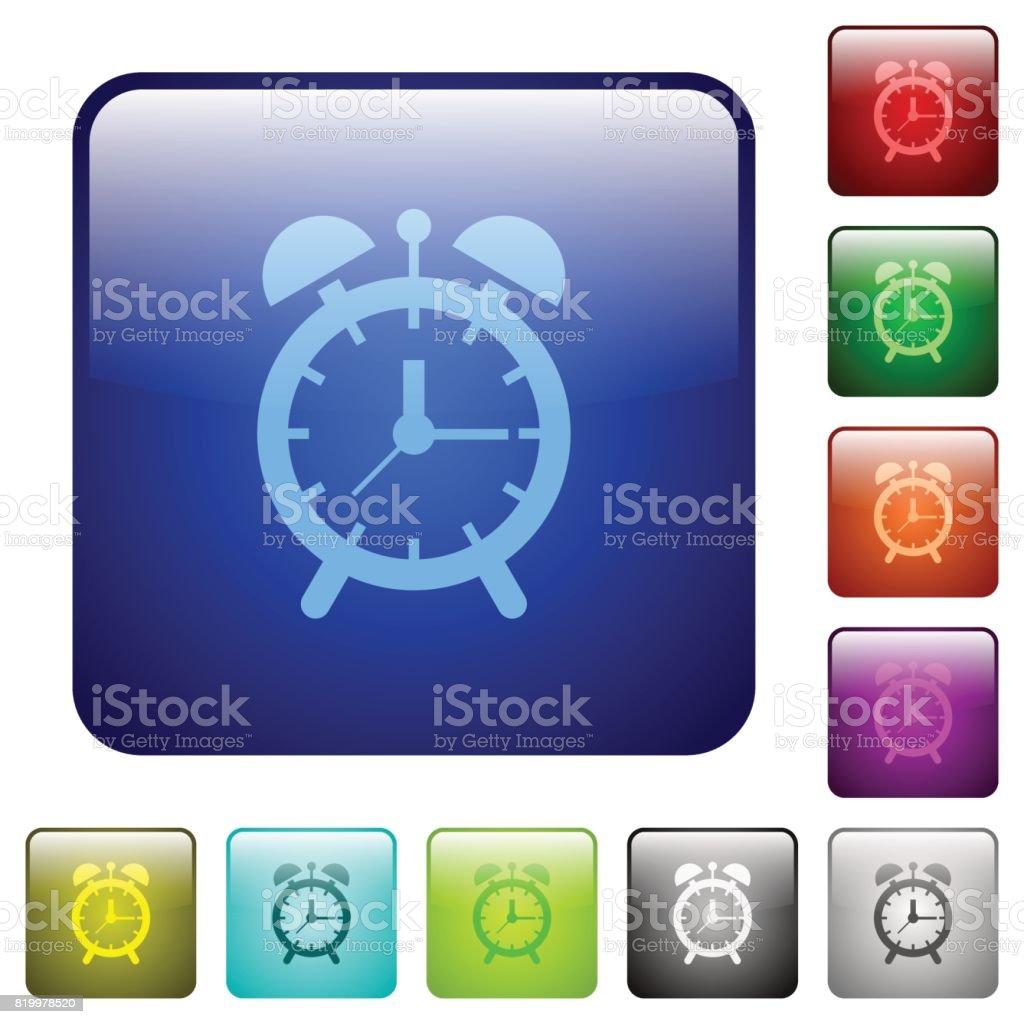 Alarm clock color square buttons vector art illustration