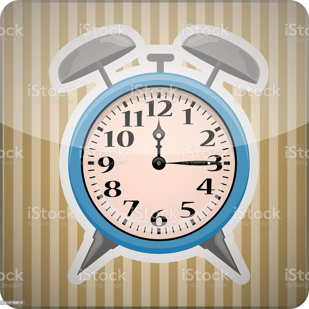 Alarm clock colorful icon vector art illustration