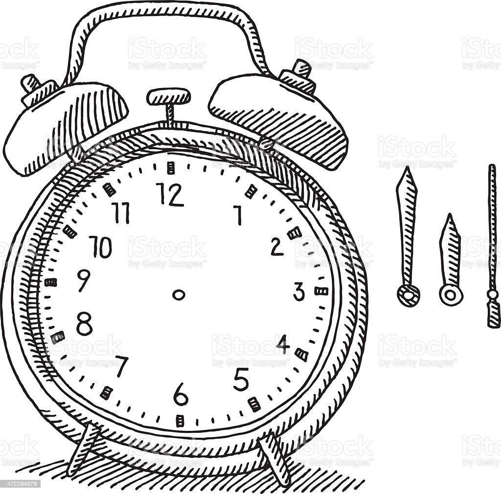 Alarm Clock Drawing royalty-free stock vector art