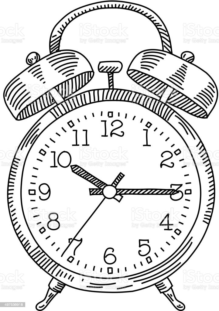 Alarm Clock Drawing vector art illustration