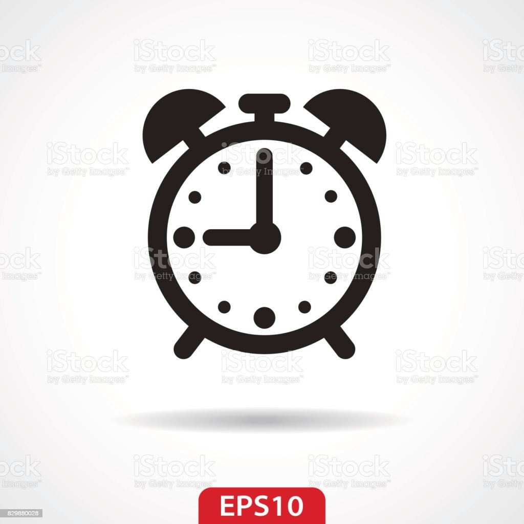 Alarm Clock Flat Icon - Vector Illustration vector art illustration