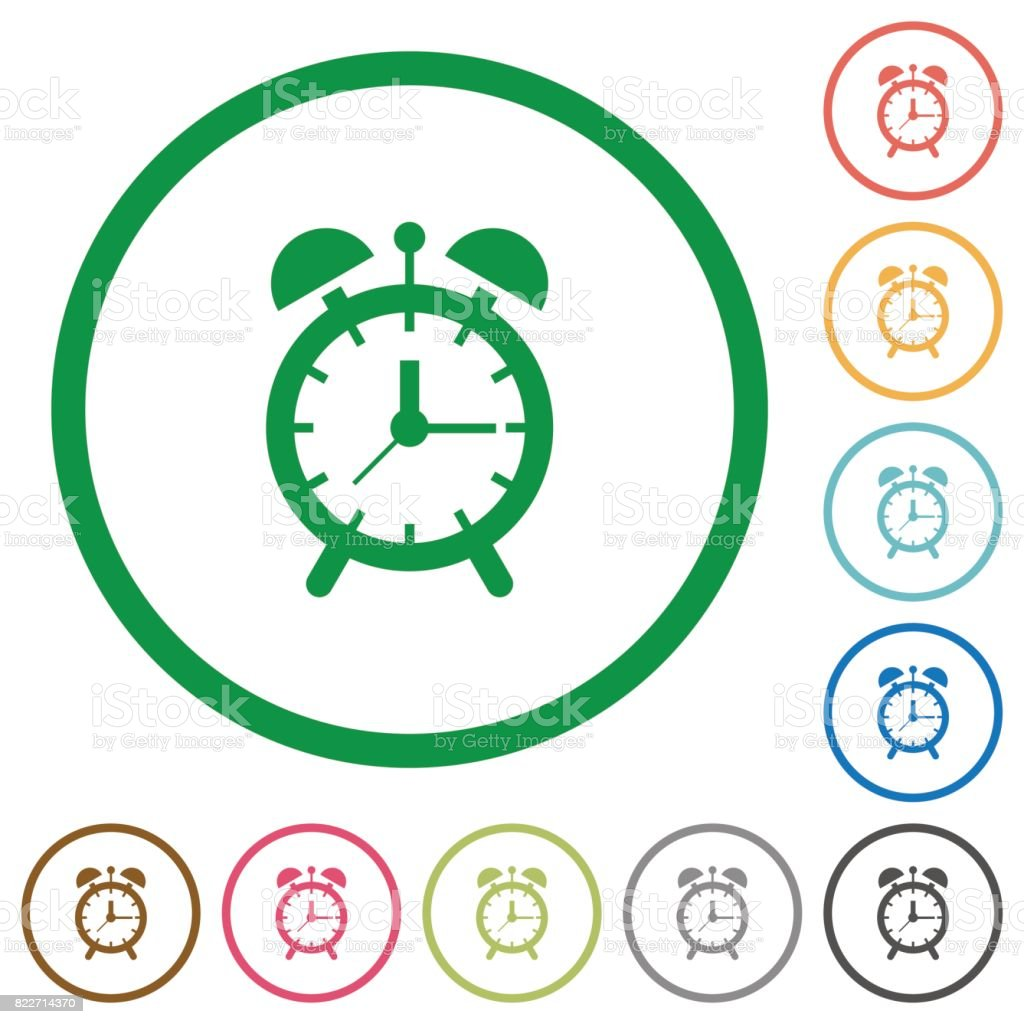 Alarm clock flat icons with outlines vector art illustration