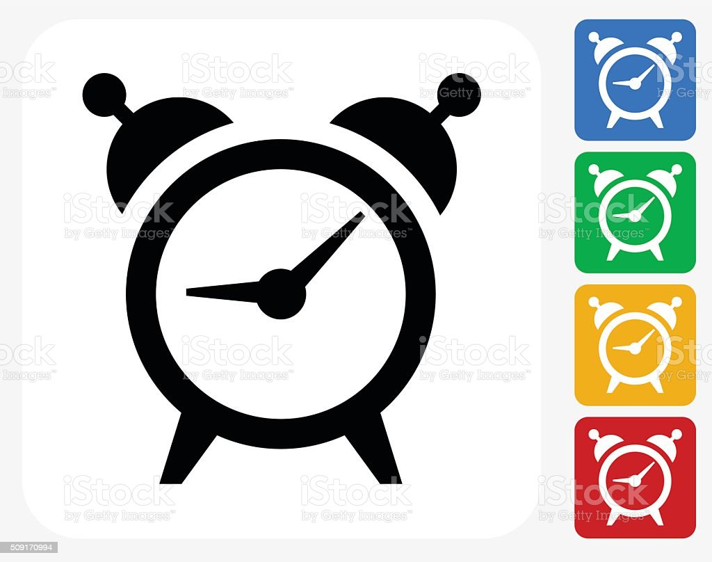 Alarm Clock Icon Flat Graphic Design vector art illustration