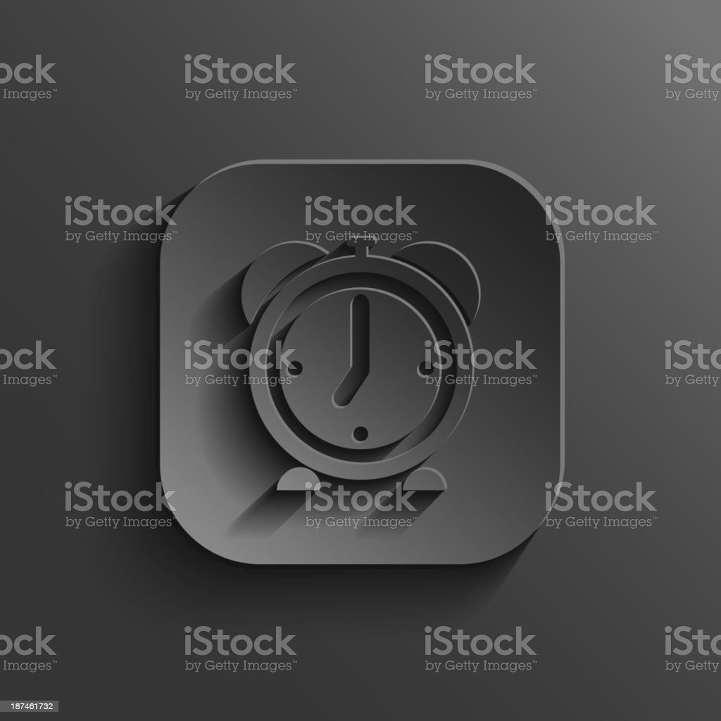 Alarm clock icon - vector black app button royalty-free stock vector art