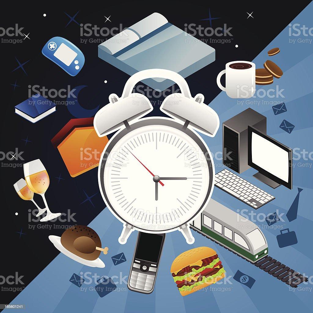Alarm clock, night and day life royalty-free stock vector art