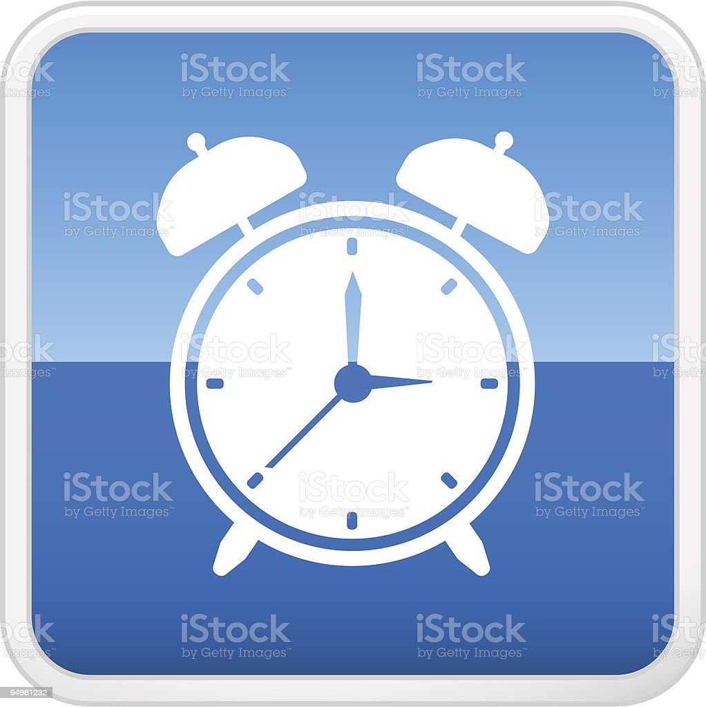 Alarm clock on square icon royalty-free stock vector art