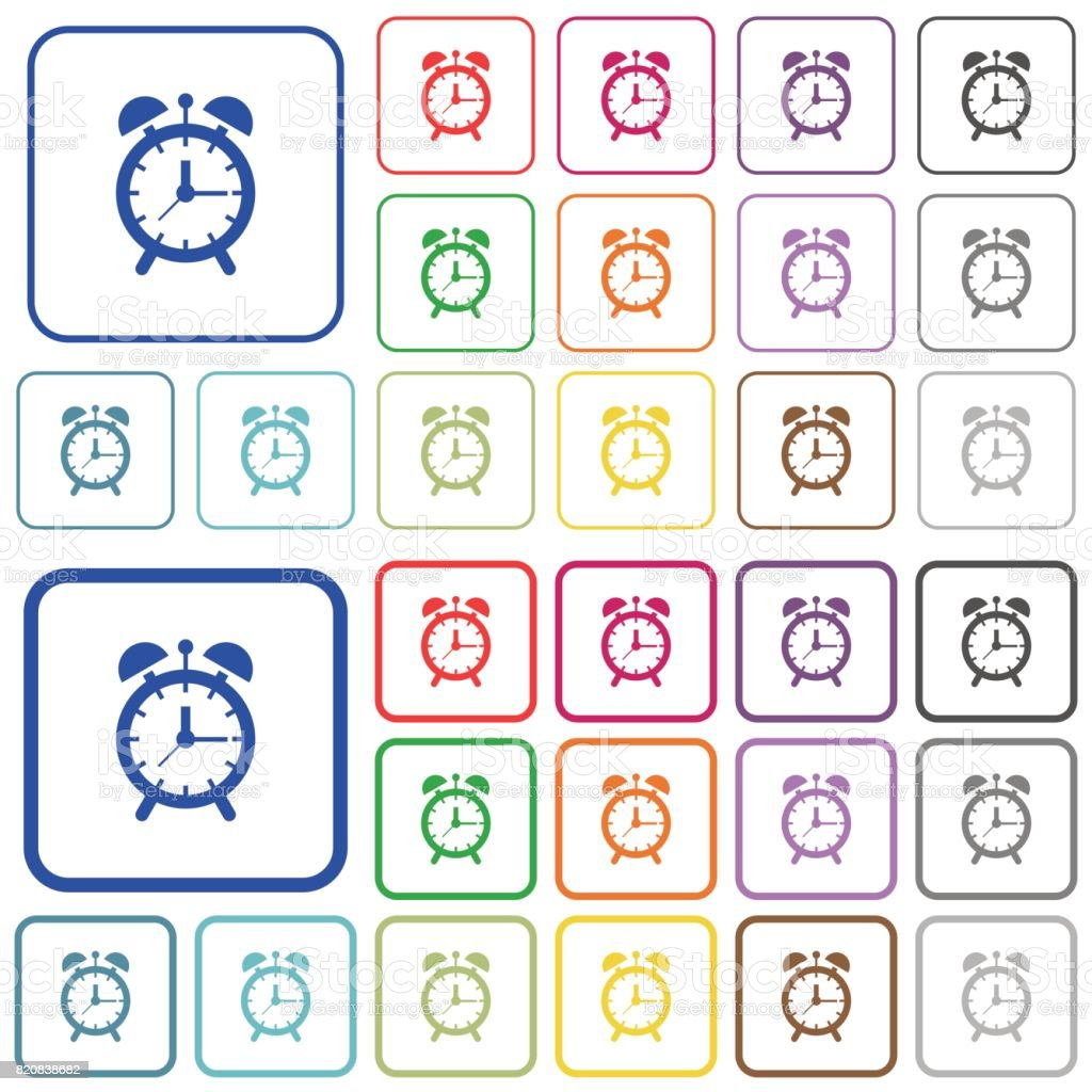 Alarm clock outlined flat color icons vector art illustration