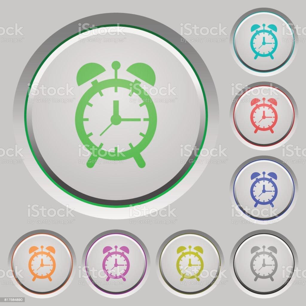 Alarm clock push buttons vector art illustration