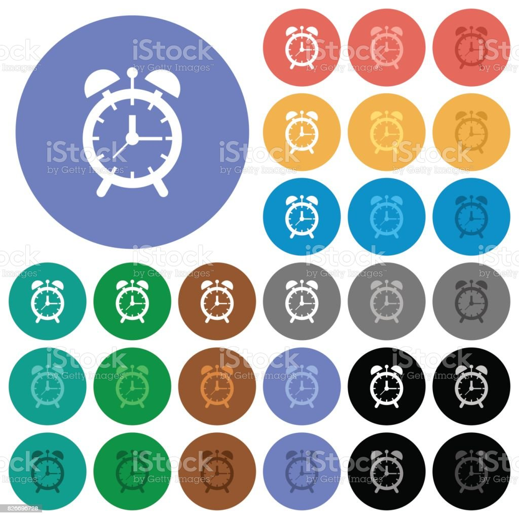 Alarm clock round flat multi colored icons vector art illustration