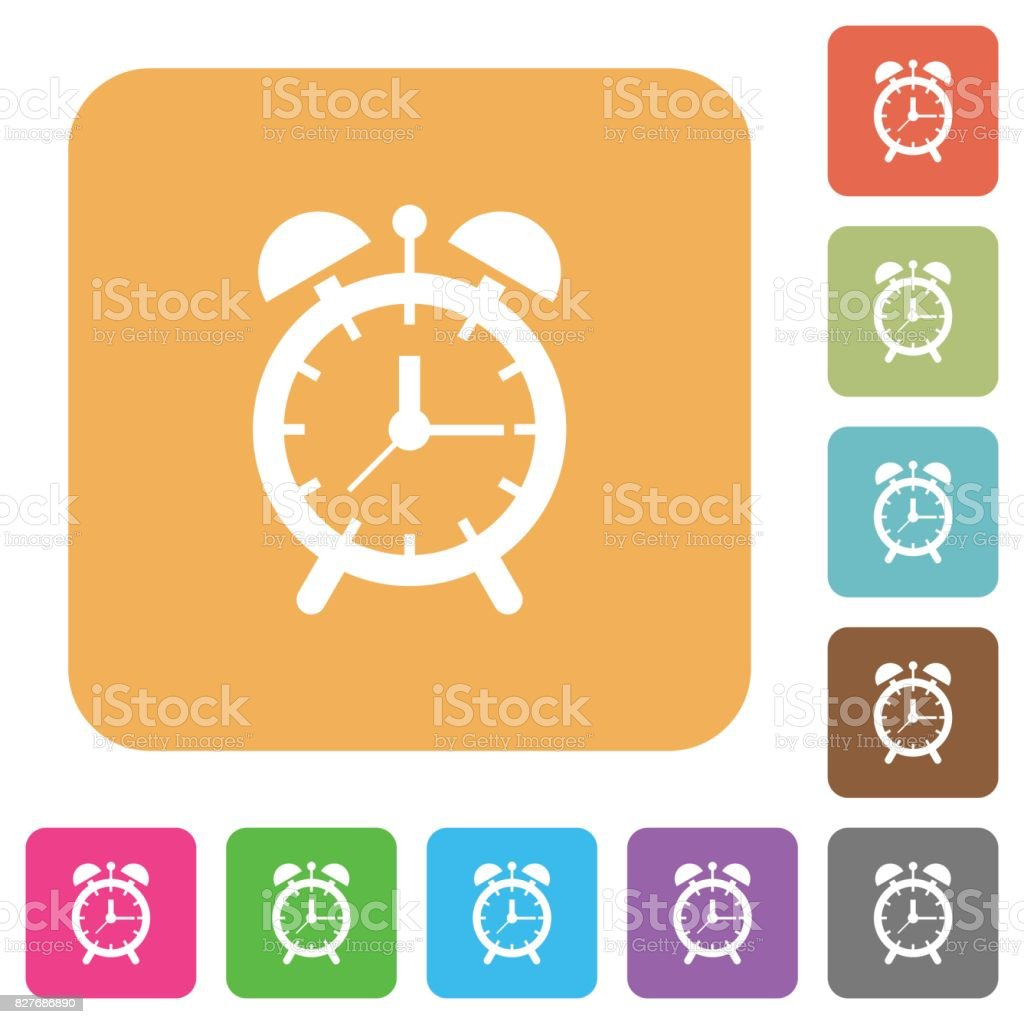 Alarm clock rounded square flat icons vector art illustration