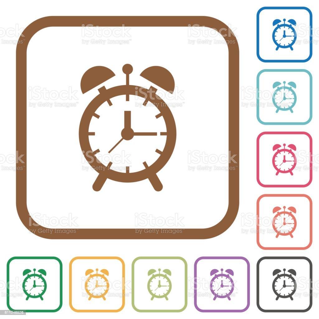 Alarm clock simple icons vector art illustration