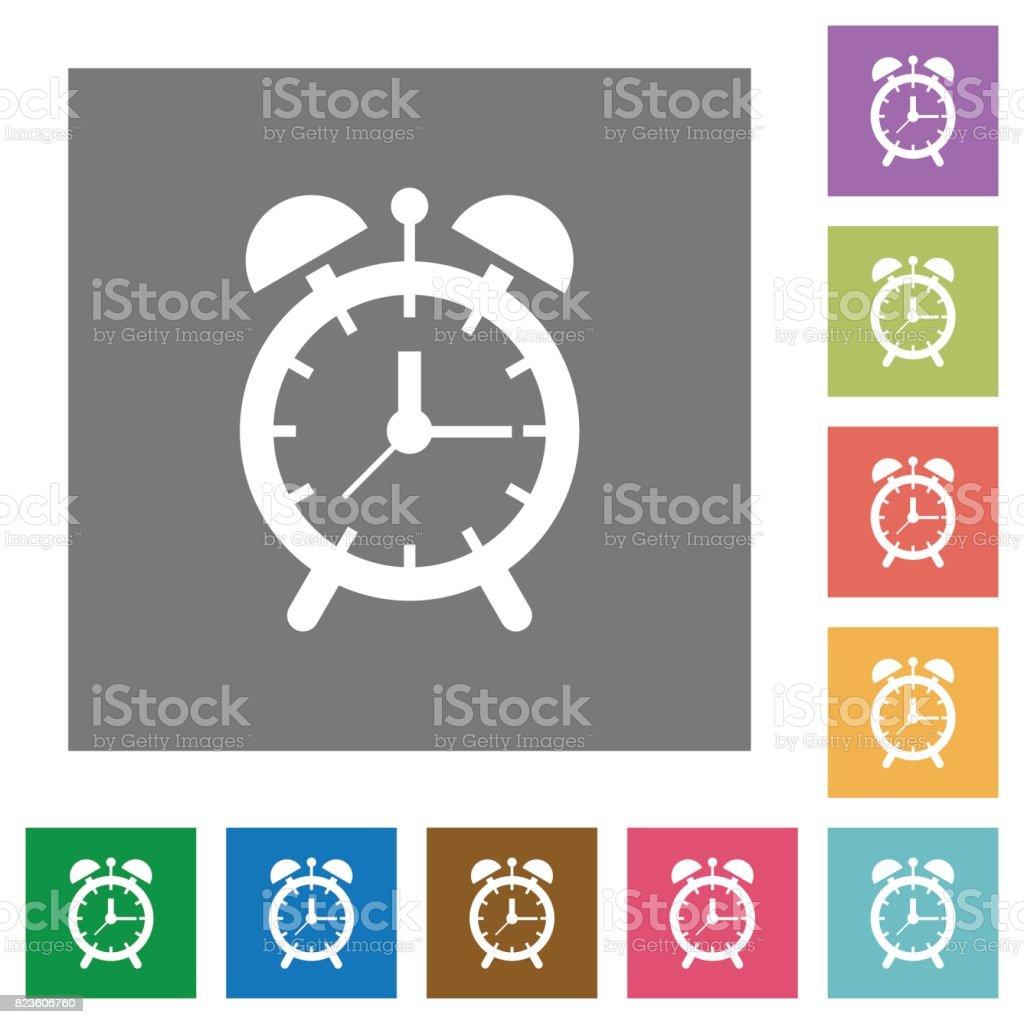 Alarm clock square flat icons vector art illustration