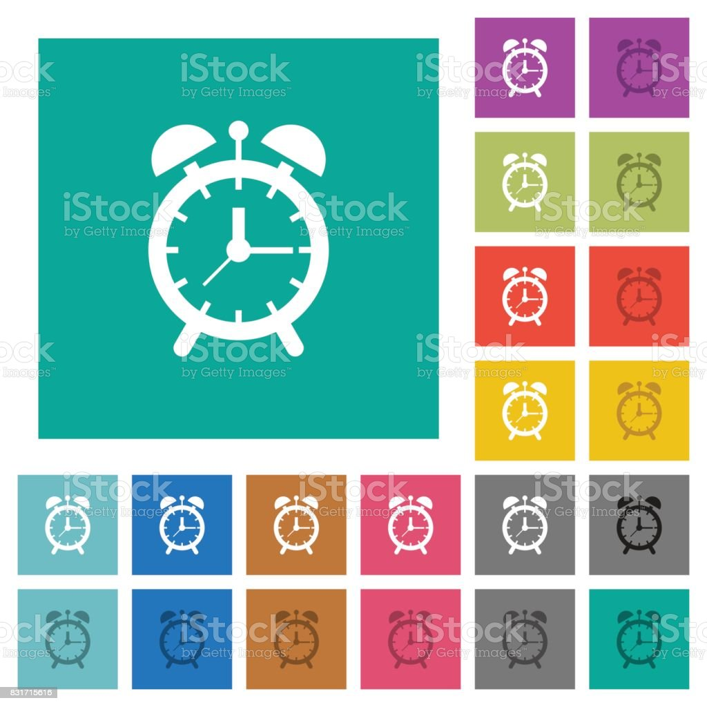 Alarm clock square flat multi colored icons vector art illustration